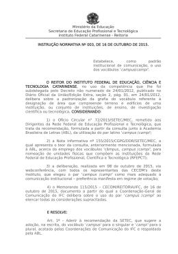 4) Instrução Normativa 003/2015 – Uso dos vocábulos `campus/campi`