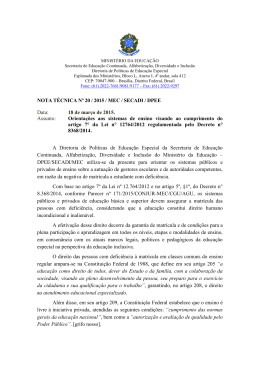 NOTA TÉCNICA Nº 20 / 2015 / MEC / SECADI / DPEE Data: 18 de