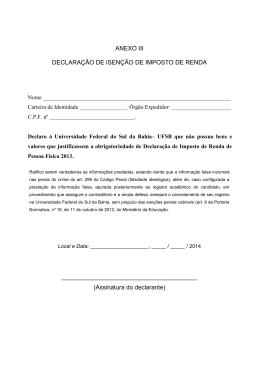 ANEXO III DECLARAÇÃO DE ISENÇÃO DE IMPOSTO DE