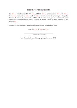 DECLARAÇÃO DE ISENTO IRPF Eu, -x-x