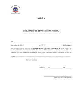 ANEXO IV DECLARAÇÃO DE ISENTO (RECEITA FEDERAL)