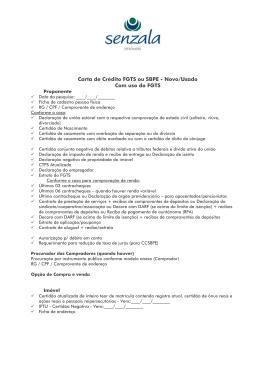 Carta de Crédito FGTS ou SBPE - Novo/Usado