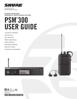 PSM300 Personal Monitor System User Guide (Portuguese)