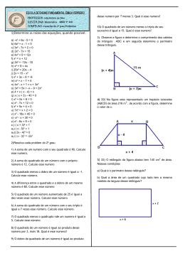 exercícios de equações do 2º grau e problemas