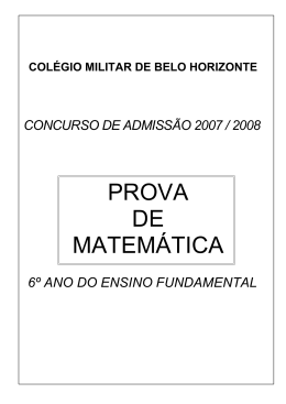 PROVA DE MATEMÁTICA - Colégio Militar de Belo Horizonte