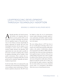 LEAPFROGGING DEVELOPMENT THROUGH TECHNOLOGY