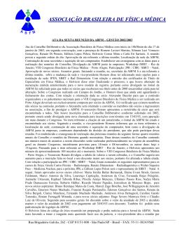 ASSOCIAÇÃO BRASILEIRA DE FÍSICA MÉDICA
