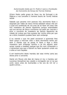 Autorização dada por D. Pedro I para a fundação do Convento da