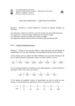 LISTA DE EXERCÍCIOS 2 – VARIÁVEIS ALEATÓRIAS