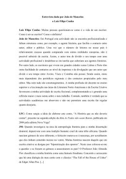 Entrevista dada por João de Mancelos a Luís Filipe Cunha