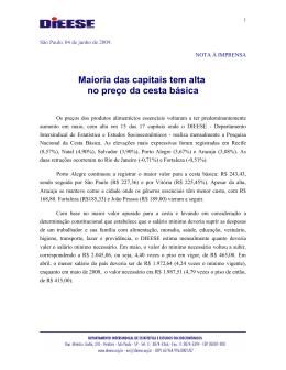 Maioria das capitais tem alta no preço da cesta básica