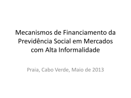 Mecanismos de Financiamento da Previdência Social em Mercados