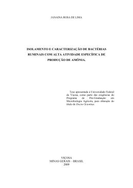 isolamento e caracterização de bactérias ruminais com alta