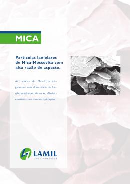 Partículas lamelares de Mica-Moscovita com alta razão de