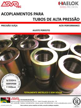 Acoplamentos para tubos de alta pressão
