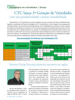CTC lança 3ª Geração de Variedades com alta