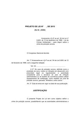 PROJETO DE LEI Nº , DE 2015 JUSTIFICAÇÃO