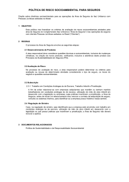 POLÍTICA DE RISCO SOCIOAMBIENTAL PARA SEGUROS