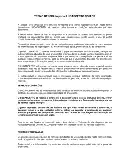 TERMO DE USO do portal LUGARCERTO.COM.BR