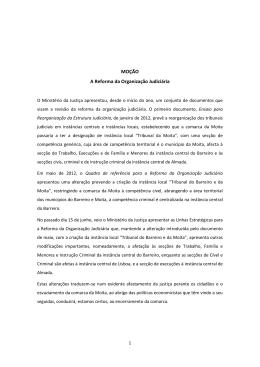 MOÇÃO A Reforma da Organização Judiciária