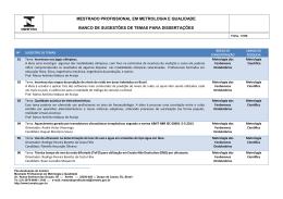 MESTRADO PROFISSIONAL EM METROLOGIA E
