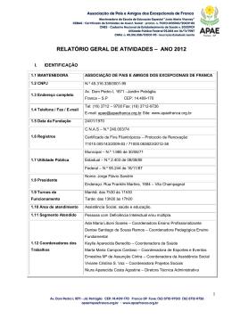RELATÓRIO GERAL DE ATIVIDADES – ANO 2012 - APAE