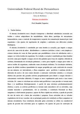 Sistema Circulatório - Aulas de Biofísica ::: Prof. Dr. Romildo de