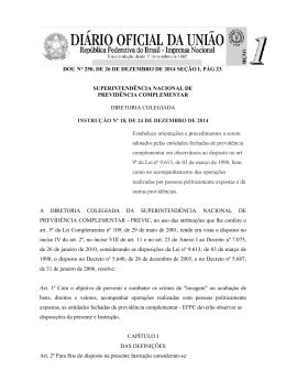 Instrução Previc nº 18, de 24 de dezembro de 2014