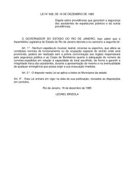 LEI N° 938, DE 16 DE DEZEMBRO DE 1985 Dispõe sobre