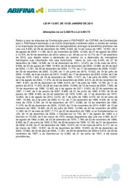 LEI Nº 13.097, DE 19 DE JANEIRO DE 2015 Alterações na Lei