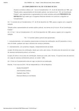 LEI COMPLEMENTAR N 144, DE 15 DE MAIO DE 2014 Atualiza a