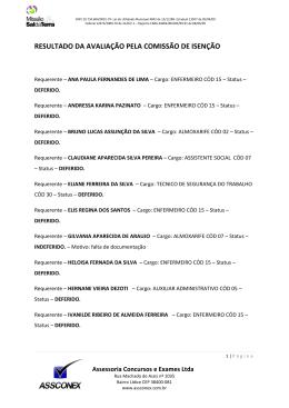 Lista de Isenção Processo Seletivo Unificado - Missão