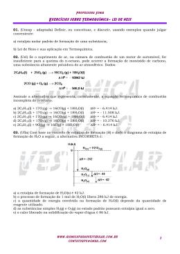 Exercícios sobre Termoquímica- lei de hess