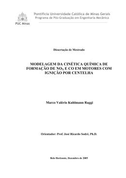 modelagem da cinética química de formação de nox e co em