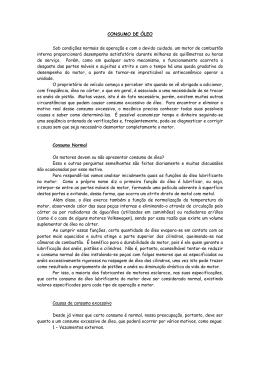 CONSUMO DE ÓLEO Sob condições normais de operação e com o devido