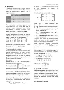 Matemática – Prof. Bini I. MATRIZES Para iniciar