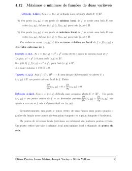4.12 Máximos e mínimos de funções de duas variáveis