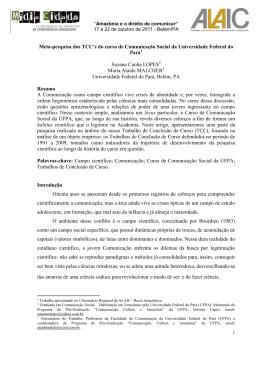 Meta-pesquisa dos TCC`s do curso de Comunicação Social da
