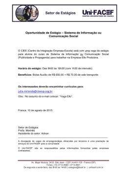 Sistemas de Informação ou Comunicação Social - Uni