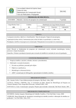 COS 04846 Métodos e Técnicas de Pesquisa em Comunicação