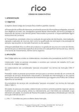 CÓDIGO DE CONDUTA ÉTICA 1. APRESENTAÇÃO 1.1