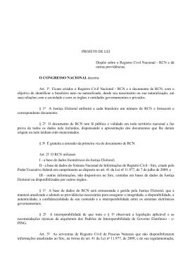 PROJETO DE LEI Dispõe sobre o Registro Civil Nacional