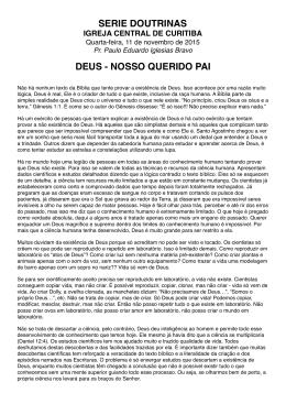 Tema 2 - Deus - Igreja Adventista do Sétimo Dia Central de Curitiba