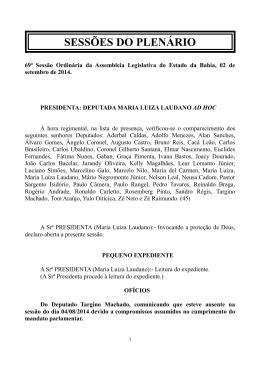 SESSÕES DO PLENÁRIO - Assembléia Legislativa da Bahia