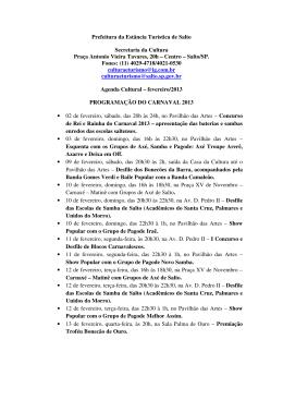 Agenda Cultural – fevereiro/2013 - Prefeitura da Estância Turística