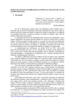 RODAS DE LEITURA EM BIBLIOTECAS PÚBLICAS: ESPAÇOS DE