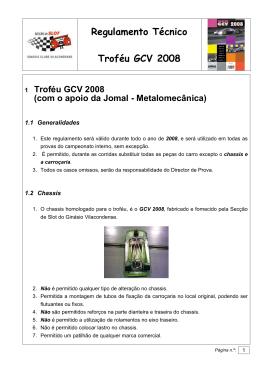 Regulamento Técnico Troféu GCV 2008