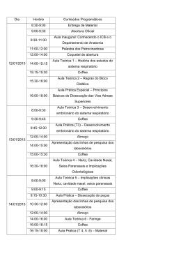 Dia Horário Conteúdos Programáticos 12/01/2015 8:30