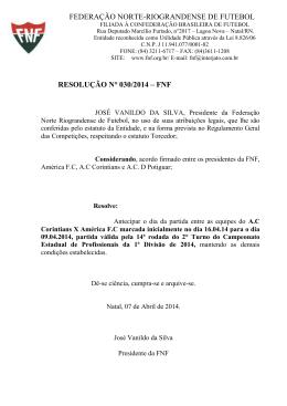 Resolução Alterando dia, horário e local - Federação Norte