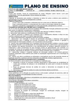604. Análise de Custos - Faculdade Santa Catarina